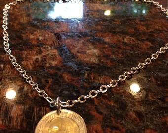 Morocco 5 dirhams coin necklace