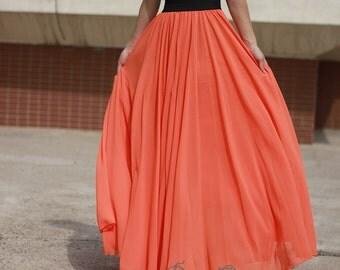 orange Maxi skirt,  orange floor-length skirt, Double layered chiffon skirt, long  skirt, draping skirts
