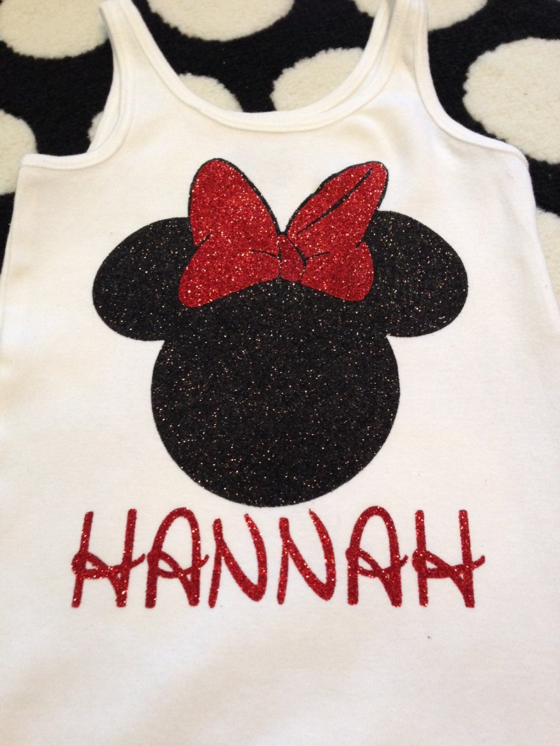 Personalized Minnie Mouse Glitter Iron On Transfer For