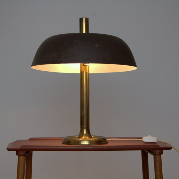 Items similar to Lampe Hillebrand vintage 60er mid century Messing Aluschirm Dreiflammig on Etsy