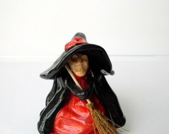 HOME GUARDIAN WITCH - unique handmade ceramic figure, black red ceramics halloween figure