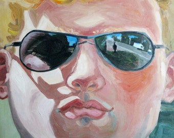 Large modern painting/ home gift decor/ Oil on canvas art/ sunglasses men portrait/ stylish home wall art painting/ fine art modern portrait