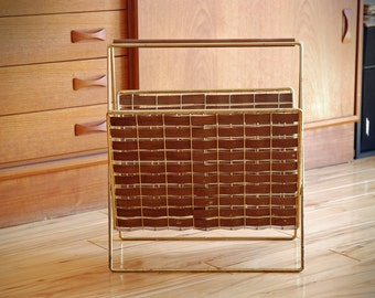 Vintage mid century teak & brass magazine rack, teak veneer throughout