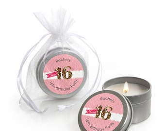Sweet 16 Candle Tin Birthday Party Favors - 12 ct. Custom Party Favors