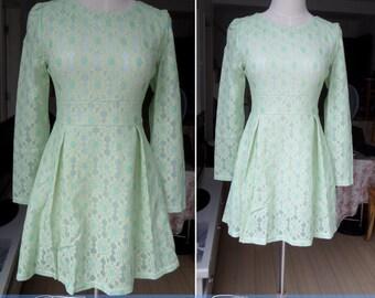 green dress spring autumn dress women clothing women dress lace dress beach dress slim fit dress