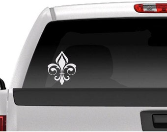 Fancy Fleur De Lis Vinyl Car Window Decal, Car Window Sticker, Free Shipping For US Orders!