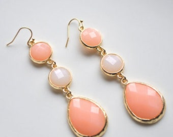 Light peach Earrings, coral peach, dangles, glass beads, Bridesmaid's gift, Handmade gift idea, gift for her.