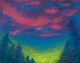 """Abstract sunset is the subject of this stretched canvas giclee of original acrylic painting of """"Abstract Sunset"""", gorgeous,dramatic palette"""