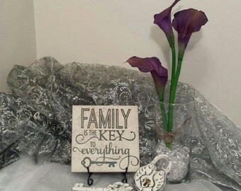 Family Is The Key To Everything Vinyl Decal Quote Tile, Vinyl Decal Quote Tile, Family Quote Tile