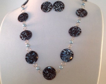 Light Blue Chocolate Brown and Silver Necklace and Earring Set, Blue Brown Necklace, Jewelry, Necklace Set, Clearance