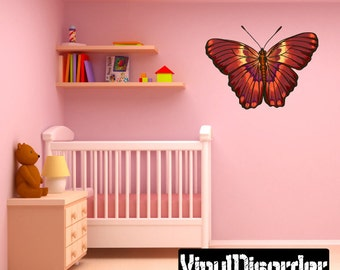 Butterfly Scroll Wall Decal - Wall Fabric - Vinyl Decal - Removable and Reusable - ButterflyUScolor010ET