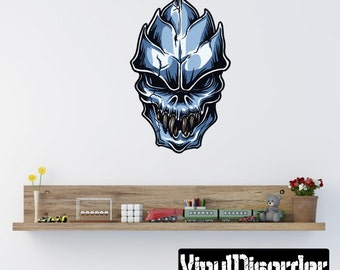 Skull Wall Decal - Wall Fabric - Vinyl Decal - Removable and Reusable - SkullUScolor044ET