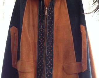 Womens small leather Poncho