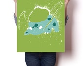 "Bulbasaur inspired paint splatter poster | 24"" x 18"" 