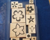 ISLAND BLOSSOMS, Set of 12 stamps by Stampin' Up!  Wood-mounted, Used