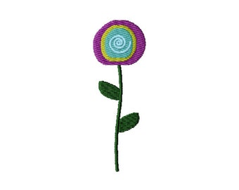 Retro Flower (13) - Filled Embroidery Design - Instant Digital Download Embroidery File