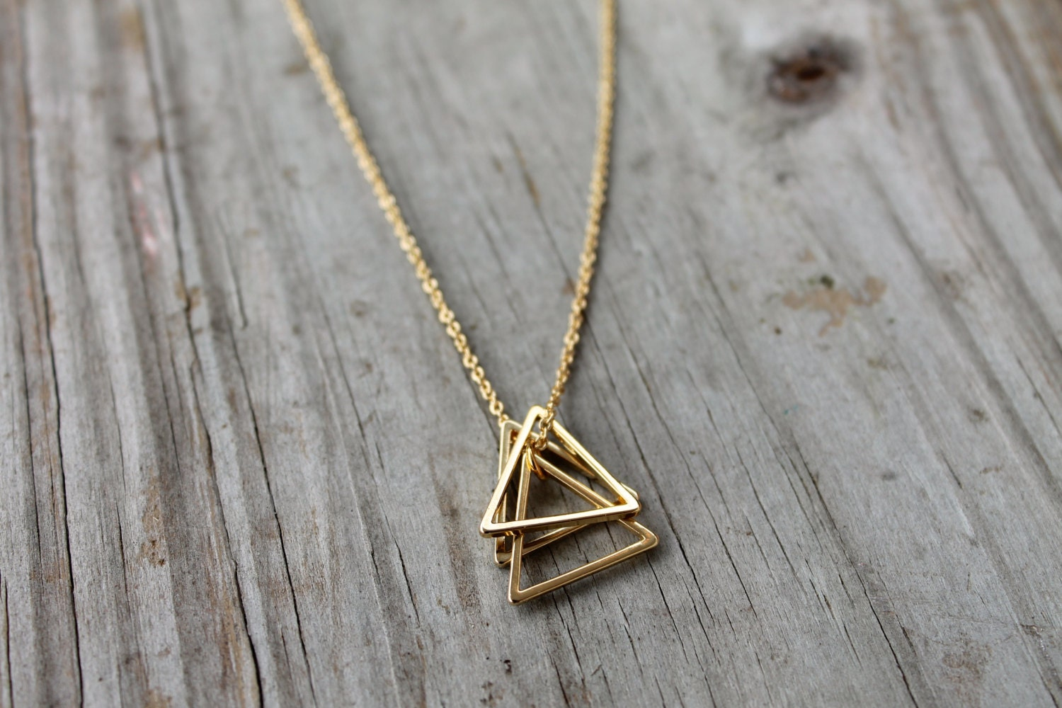 Gold Triangle Stack Necklace 14k Gold Filled Triangle