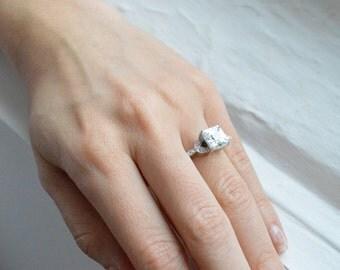 Unique Rose Gold Engagement Ring Diamond Alternative