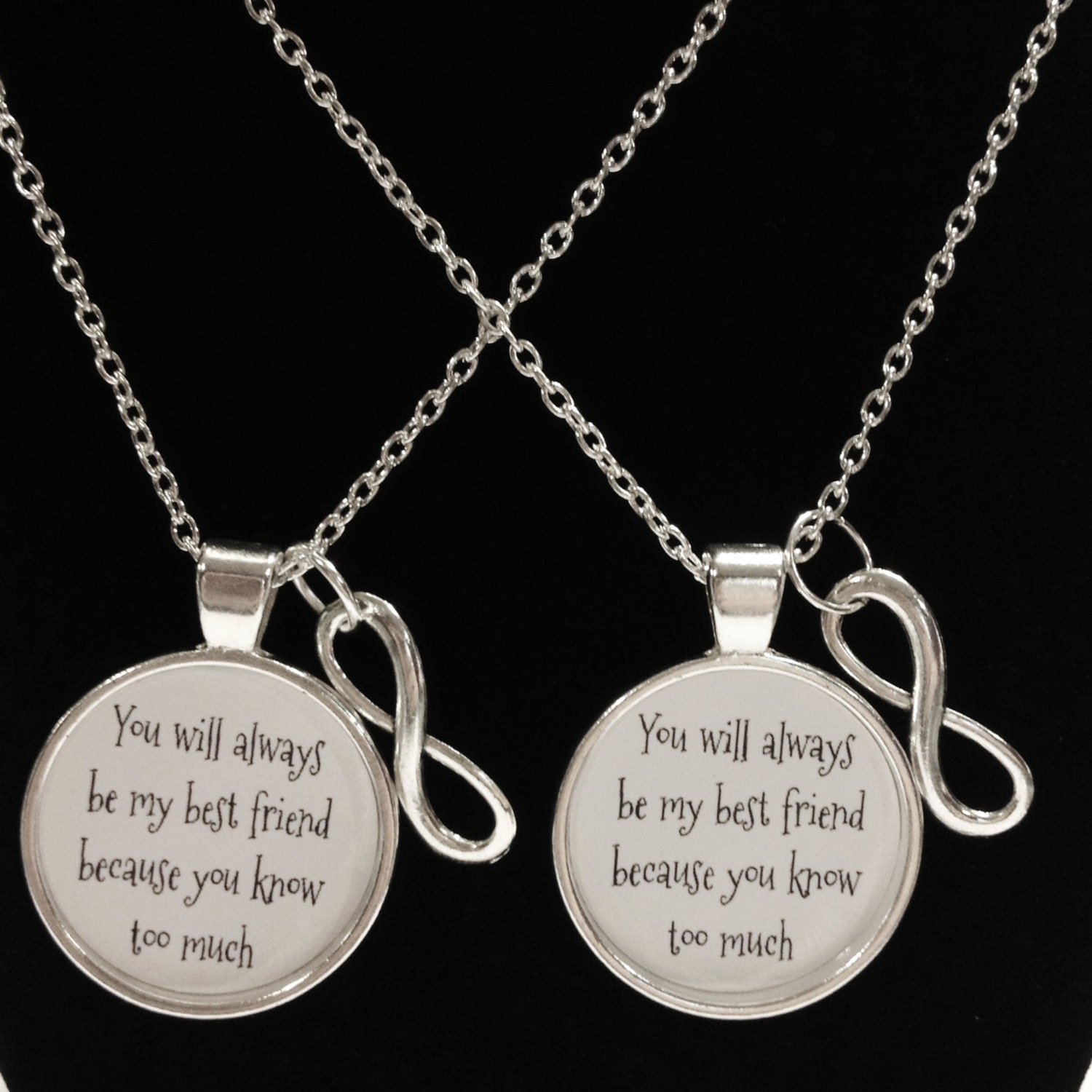 Friendship Quotes Jewelry: Best Friend Gift Best Friend Necklace Infinity You Will