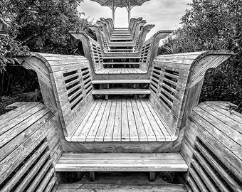 Landscape Photography - Highway 30A, Florida - Seaside - Natchez Pavilion - Black and White