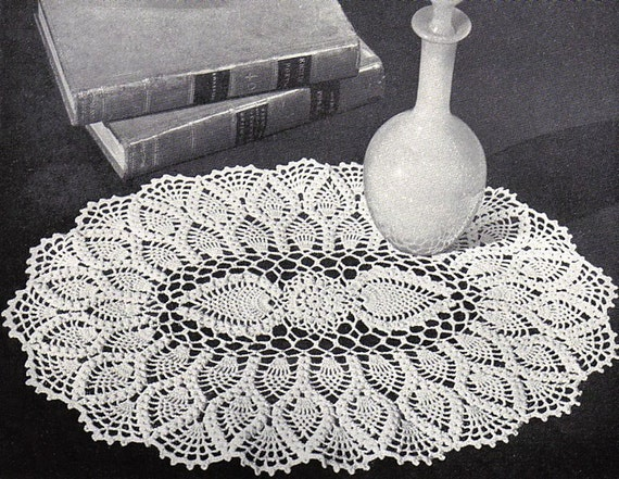 Charming Oval Pineapple Doily Pattern Retyped Large Print