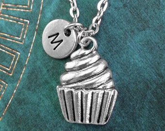Silver Cupcake Necklace, Personalized Necklace, Cupcake Pendant, Custom Necklace, Cupcake Jewelry, Monogram Necklace, Cute Charm Necklace