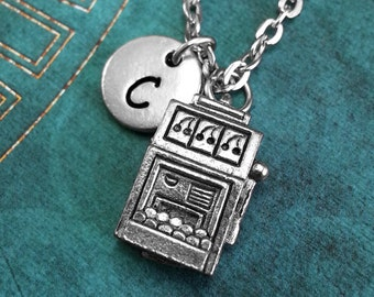 Slot Machine Necklace, Personalized Necklace, Gambling Gift, Monogram Necklace, Casino Jewelry, Slot Machine Charm Necklace, Custom Gift