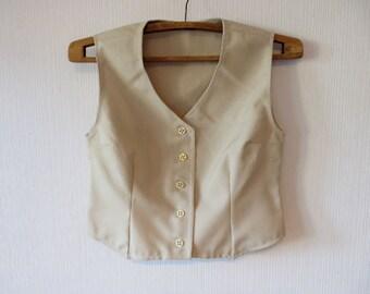 Sand Beige Plaid Women Vest Romantic Western Comfortable Medium Waistcoat Country Cottage Chic Blouse Checkered