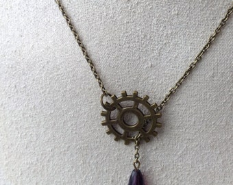 Steampunk Gear Necklace Jewelry
