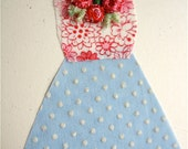 Handmade Fabric Collage Dress Card - Blue/Pink