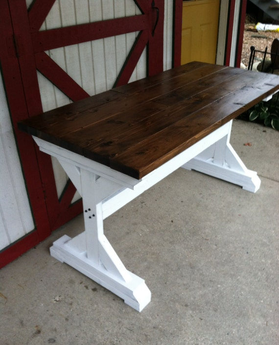 Farmhouse Table \/ Two Tone Table \/ by WolfcreekFurnitureCo on Etsy