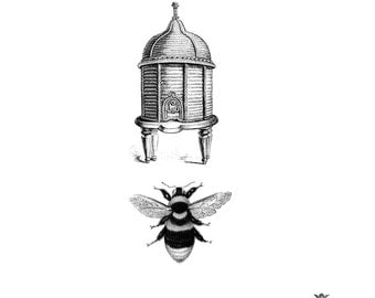 Victorian Bee Hive and Bumble Bee Wickedly Lovely skin art  temporary tattoo