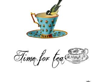 Time for Tea, super cute vintage teacup and bird  with tea quote WickedlyLovely SkinArt  temporary  tattoo.