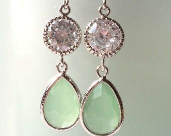 Avanturine Green Zirconia Earrings. Zirconia Dangles. Pastel Green Chandeliers. Peridot Crystal Chandeliers. Bridal, Bridesmaids Chandeliers