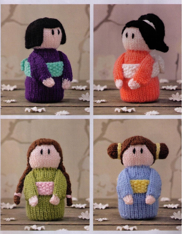 Knitting Pattern Small Doll : JaPANESE KIMONO SMaLL DoLls SeT Of 6 Soft toys GReAt GIFt
