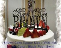Custom Silhouette  Cake Topper , Monogram Cake Topper Mr and Mrs  With Your Last (Family)Name  - Handmade Custom Wedding Cake Topper