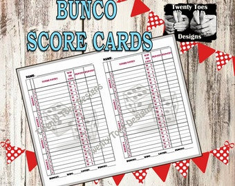 INSTANT DOWNLOAD Bunco Score Sheets- 2 to a Page PRINTABLE