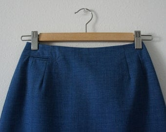 60s vintage blue pencil skirt high waisted skirt by Russ size extra small in excellent vintage condition