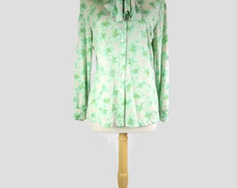 Vintage 70s Polyester Green Floral Secretary Blouse - Floral Top