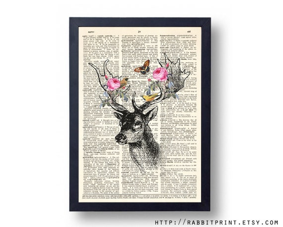 Deer Head Dictionary art print, 8x10 Floral Deer Wall Art, Dictionary Paper print, illustration Vintage Book Print Wall Decal, Wall decor