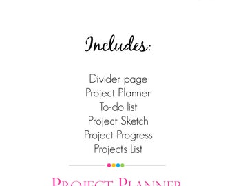 Project Planner Set, Single PDF along with Divider Page,Project PDF Planner Pages, project lists, sketch, progress planner, Instant Download