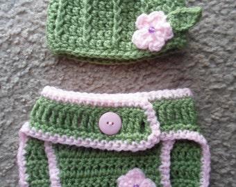Baby Girl Flower Set....Green Vertical Stripes Hat & Adjustable Diaper Cover w/ Light Pink flower.  Sizes Newborn-12 Months.