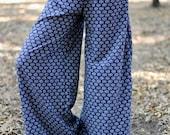 Blue Cotton Summer Pants-Cotton Wide Leg Pant- Women Harem Pants -Yoga Boho Pants-womens yoga pants- Yoga Clothing- Baggy Pants