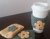 Sage/Cornsilk Crochet Coffee Cozies- Coffee Warmer - Coffee Cup Sleeve- 4 pc Set Gift Idea Nandys Nook