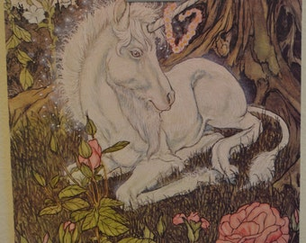 Vintage 1980s Dry Mounted Poster Art: Fantasy Unicorn Resting Under Tree