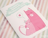 PDF - Mothers Day Card || Kawaii art || Cats || 5x7 greeting card || Instant Download