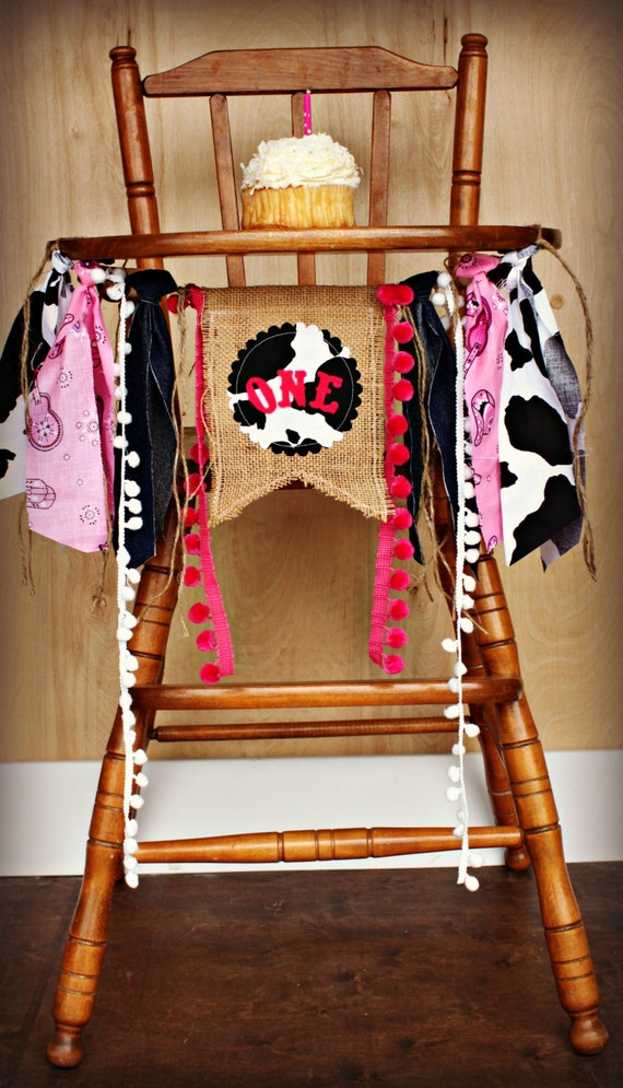 Rodeo Cowgirl Country Western Birthday High Chair Highchair