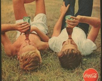 Original Saturday Evening Post Coke boys in the grass ad in VG condition, 1950s, Coca Cola - 506