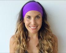 Yoga Headband -Fitness Headband - Royalest of Purple Headband - Running,Non slip - Wide headband