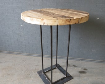 Elegant Industrial Chic Reclaimed Custom Made Round Tall Bar Poseur Table 017 Bar  Cafe Resturant Tables Steel